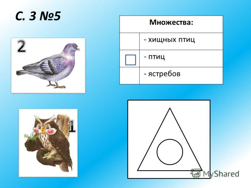 С. 3 5 Множества: - хищных птиц - птиц - ястребов