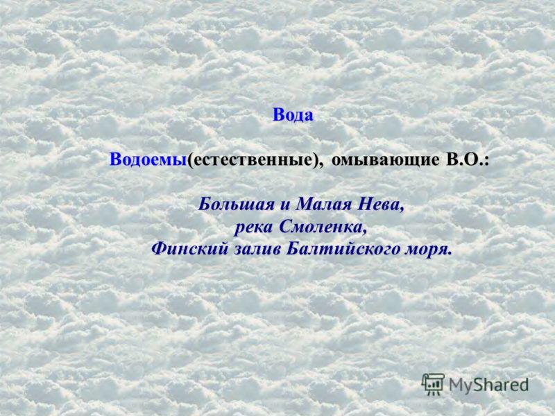 Вода Водоемы(естественные), омывающие В.О.: Большая и Малая Нева, река Смоленка, Финский залив Балтийского моря.