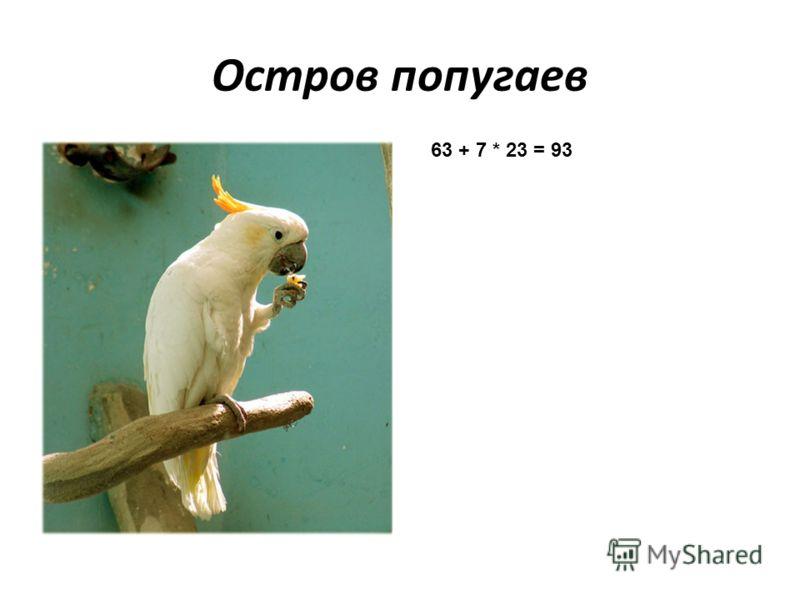 Остров попугаев 63 + 7 * 23 = 93