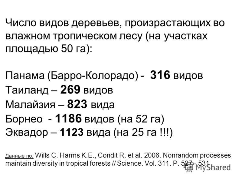 Число видов деревьев, произрастающих во влажном тропическом лесу (на участках площадью 50 га): Панама (Барро-Колорадо) - 316 видов Таиланд – 269 видов Малайзия – 823 вида Борнео - 1186 видов (на 52 га) Эквадор – 1123 вида (на 25 га !!!) Данные по: Wi