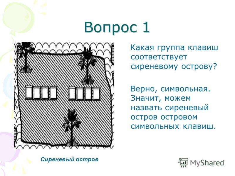 Вопрос 1 Какая группа клавиш соответствует сиреневому острову? Верно, символьная. Значит, можем назвать сиреневый остров островом символьных клавиш. Сиреневый остров