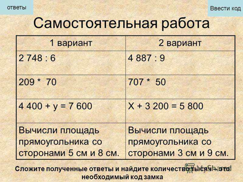 Ввести код Самостоятельная работа Сложите полученные ответы и найдите количество тысяч – это необходимый код замка 1 вариант2 вариант 2 748 : 64 887 : 9 209 * 70707 * 50 4 400 + у = 7 600Х + 3 200 = 5 800 Вычисли площадь прямоугольника со сторонами 5