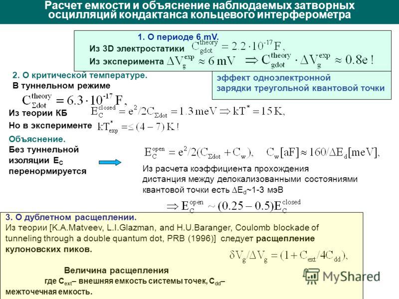 Расчет емкости и объяснение наблюдаемых затворных осцилляций кондактанса кольцевого интерферометра 2. О критической температуре. В туннельном режиме Объяснение. Без туннельной изоляции E C перенормируется Из расчета коэффициента прохождения дистанция