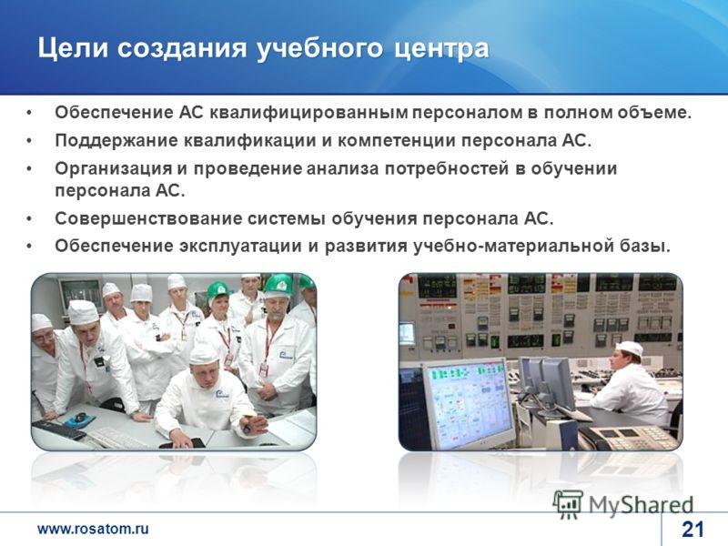 www.rosatom.ru Цели создания учебного центра 21 Обеспечение АС квалифицированным персоналом в полном объеме. Поддержание квалификации и компетенции персонала АС. Организация и проведение анализа потребностей в обучении персонала АС. Совершенствование