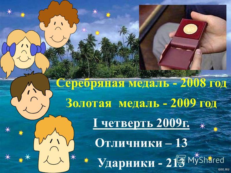 Серебряная медаль - 2008 год Золотая медаль - 2009 год I четверть 2009г. Отличники – 13 Ударники - 213