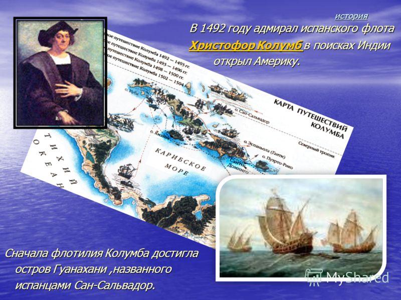 история история В 1492 году адмирал испанского флота В 1492 году адмирал испанского флота Христофор Колумб в поисках Индии Христофор Колумб в поисках ИндииХристофор Колумб Христофор Колумб открыл Америку. открыл Америку. Сначала флотилия Колумба дост