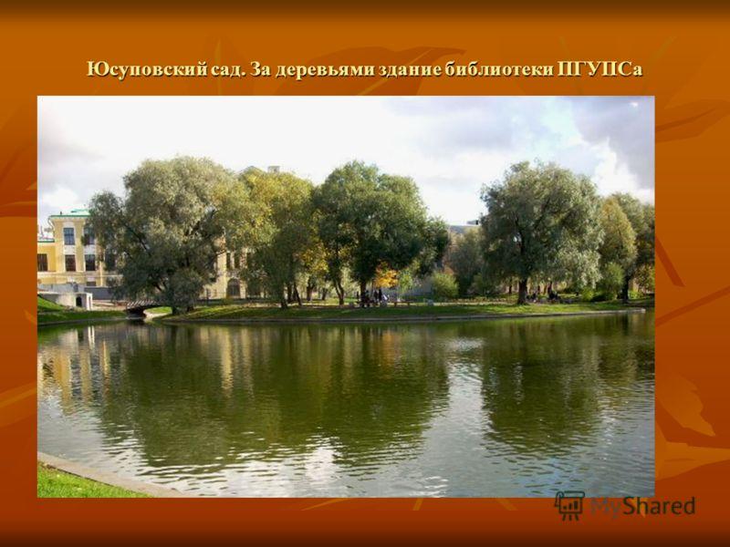 Юсуповский сад. За деревьями здание библиотеки ПГУПСа