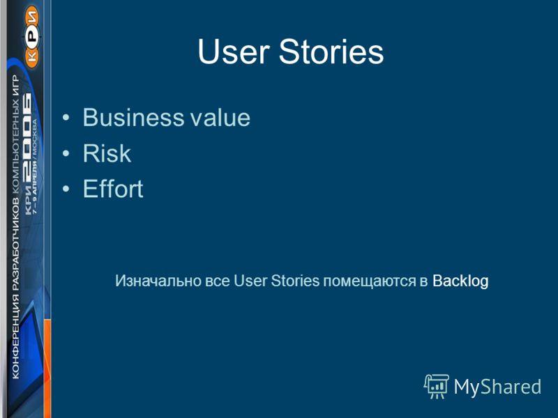 User Stories Business value Risk Effort Изначально все User Stories помещаются в Backlog