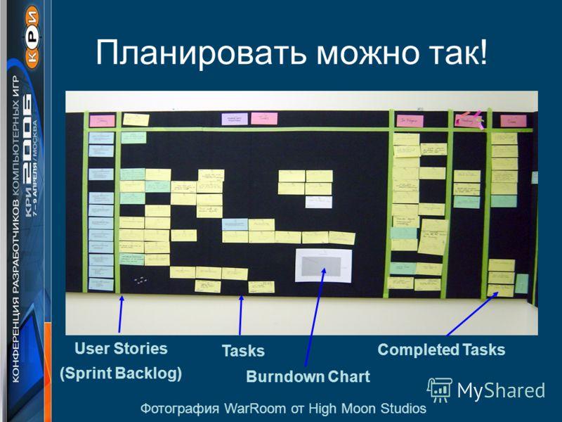 Планировать можно так! User Stories (Sprint Backlog) Tasks Completed Tasks Burndown Chart Фотография WarRoom от High Moon Studios