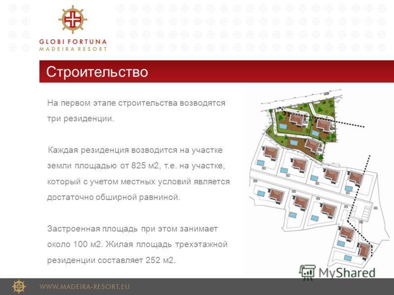Строительство На первом этапе строительства возводятся три резиденции. Каждая резиденция возводится на участке земли площадью от 825 м2, т.е. на участке, который с учетом местных условий является достаточно обширной равниной. Застроенная площадь при