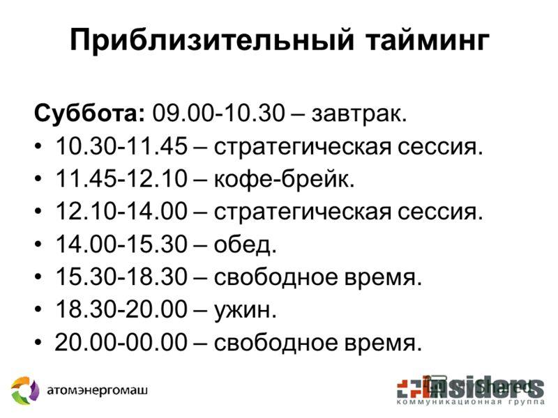 Приблизительный тайминг Суббота: 09.00-10.30 – завтрак. 10.30-11.45 – стратегическая сессия. 11.45-12.10 – кофе-брейк. 12.10-14.00 – стратегическая сессия. 14.00-15.30 – обед. 15.30-18.30 – свободное время. 18.30-20.00 – ужин. 20.00-00.00 – свободное