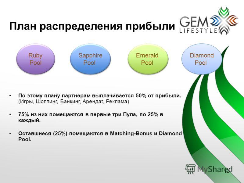 План распределения прибыли Ruby Pool Ruby Pool Sapphire Pool Sapphire Pool Emerald Pool Emerald Pool Diamond Pool Diamond Pool 12 По этому плану партнерам выплачивается 50% от прибыли. (Игры, Шоппинг, Банкинг, Арендаt, Реклама) 75% из них помещаются