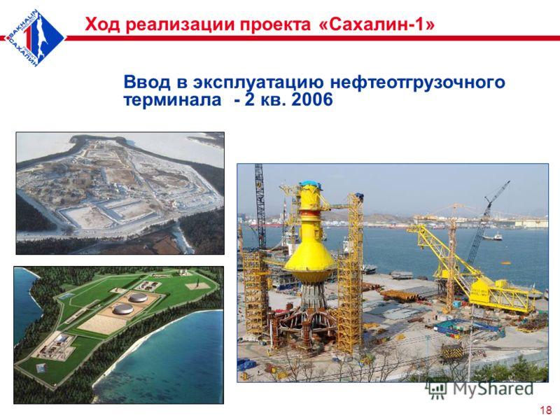 18 Ввод в эксплуатацию нефтеотгрузочного терминала - 2 кв. 2006 Ход реализации проекта «Сахалин-1»