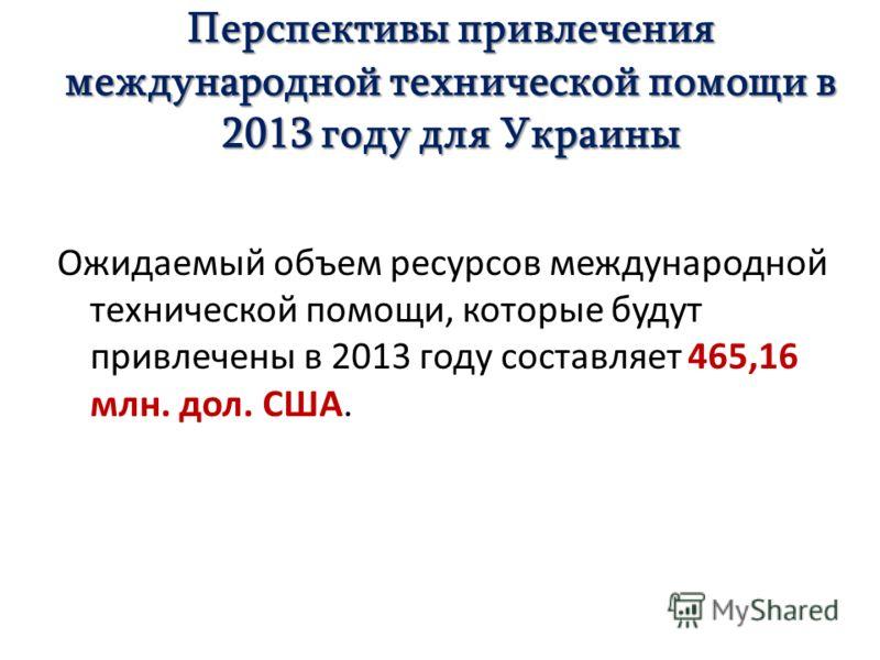 Перспективы привлечения международной технической помощи в 2013 году для Украины Ожидаемый объем ресурсов международной технической помощи, которые будут привлечены в 2013 году составляет 465,16 млн. дол. США.