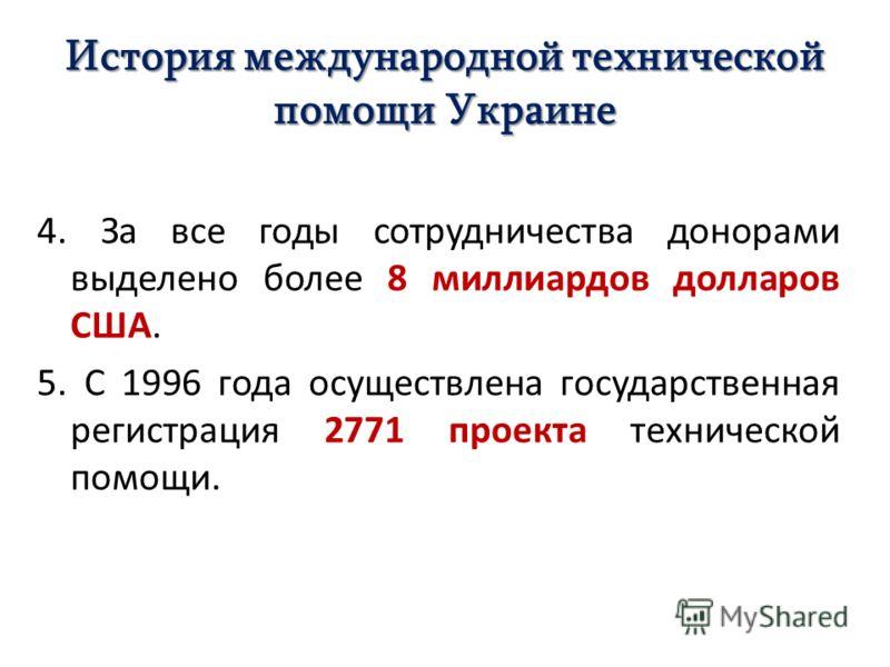 История международной технической помощи Украине 4. За все годы сотрудничества донорами выделено более 8 миллиардов долларов США. 5. С 1996 года осуществлена государственная регистрация 2771 проекта технической помощи.