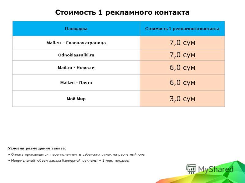 Стоимость 1 рекламного контакта Условия размещения заказа: Оплата производится перечислением в узбекских сумах на расчетный счет Минимальный объем заказа баннерной рекламы – 1 млн. показов ПлощадкаСтоимость 1 рекламного контакта Mail.ru – Главная стр