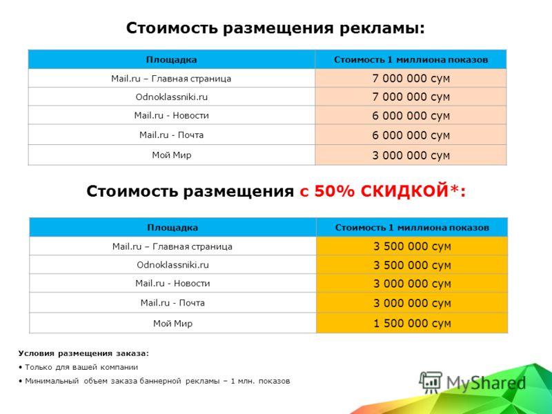 Стоимость размещения рекламы: Условия размещения заказа: Только для вашей компании Минимальный объем заказа баннерной рекламы – 1 млн. показов ПлощадкаСтоимость 1 миллиона показов Mail.ru – Главная страница 7 000 000 сум Odnoklassniki.ru 7 000 000 су