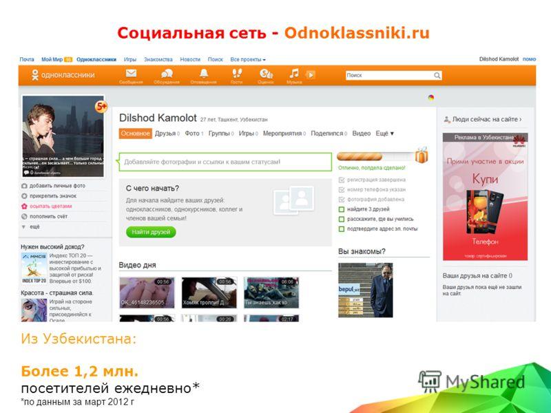 Социальная сеть - Odnoklassniki.ru Из Узбекистана: Более 1,2 млн. посетителей ежедневно* *по данным за март 2012 г