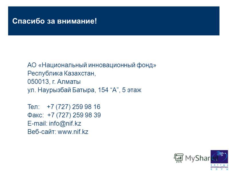 АО «Национальный инновационный фонд» Республика Казахстан, 050013, г. Алматы ул. Наурызбай Батыра, 154 A, 5 этаж Teл: +7 (727) 259 98 16 Факс: +7 (727) 259 98 39 E-mail: info@nif.kz Веб-сайт: www.nif.kz Спасибо за внимание!
