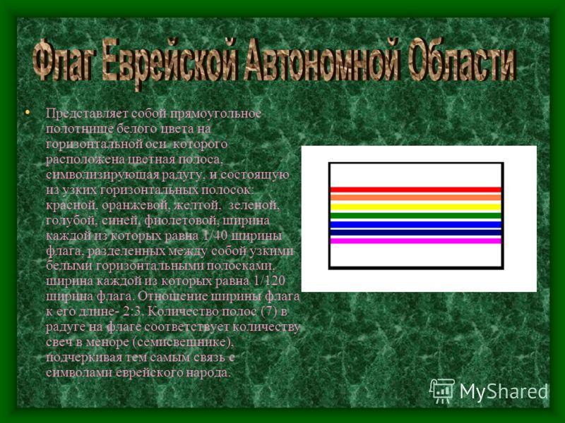 Представляет собой прямоугольное полотнище белого цвета на горизонтальной оси которого расположена цветная полоса, символизирующая радугу, и состоящую из узких горизонтальных полосок: красной, оранжевой, желтой, зеленой, голубой, синей, фиолетовой, ш