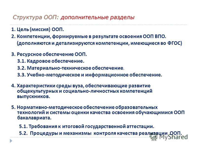 Структура ООП: дополнительные разделы 1. Цель ( миссия ) ООП. 2. Компетенции, формируемые в результате освоения ООП ВПО. ( дополняются и детализируются компетенции, имеющиеся во ФГОС ) 3. Ресурсное обеспечение ООП. 3.1. Кадровое обеспечение. 3.2. Мат