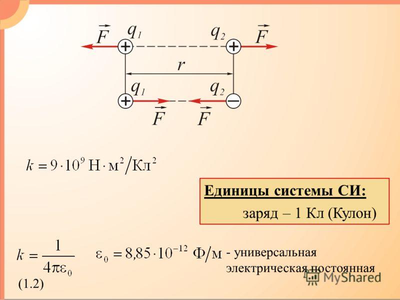 Единицы системы СИ: заряд – 1 Кл (Кулон) - универсальная электрическая постоянная (1.2)