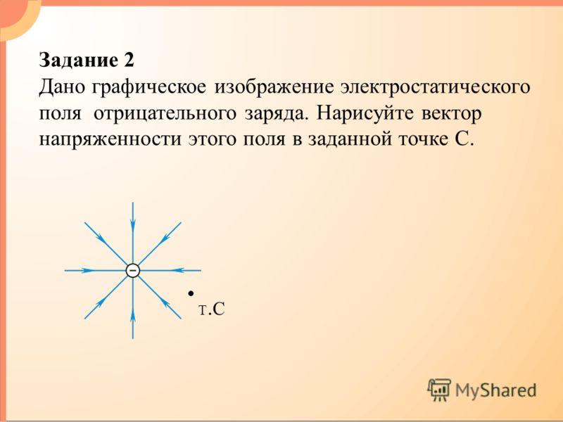 Задание 2 Дано графическое изображение электростатического поля отрицательного заряда. Нарисуйте вектор напряженности этого поля в заданной точке С. Т.СТ.С