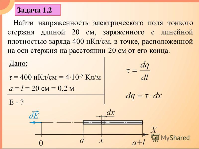 Задача 1.2 Найти напряженность электрического поля тонкого стержня длиной 20 см, заряженного с линейной плотностью заряда 400 нКл/см, в точке, расположенной на оси стержня на расстоянии 20 см от его конца. Дано: τ = 400 нКл/см = 4·10 -5 Кл/м a = l =