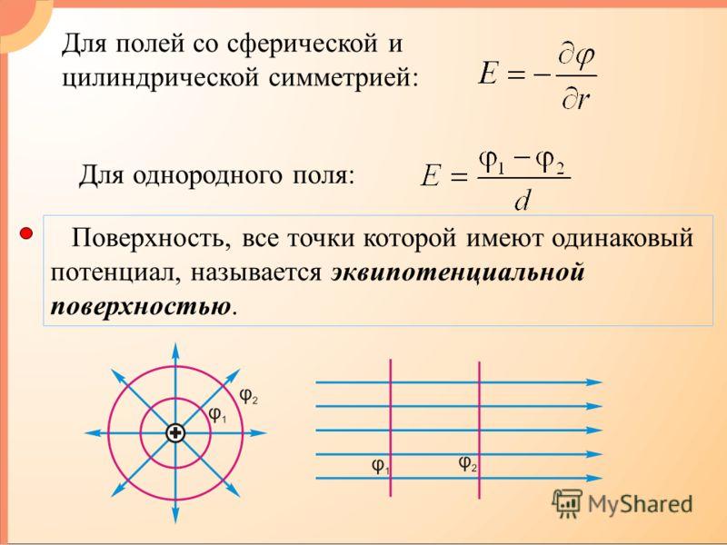 Для однородного поля: Поверхность, все точки которой имеют одинаковый потенциал, называется эквипотенциальной поверхностью. Для полей со сферической и цилиндрической симметрией: