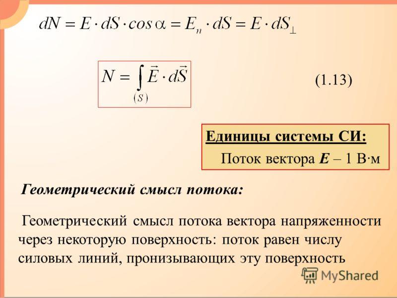 (1.13) Геометрический смысл потока: Единицы системы СИ: Поток вектора Е – 1 В·м Геометрический смысл потока вектора напряженности через некоторую поверхность: поток равен числу силовых линий, пронизывающих эту поверхность
