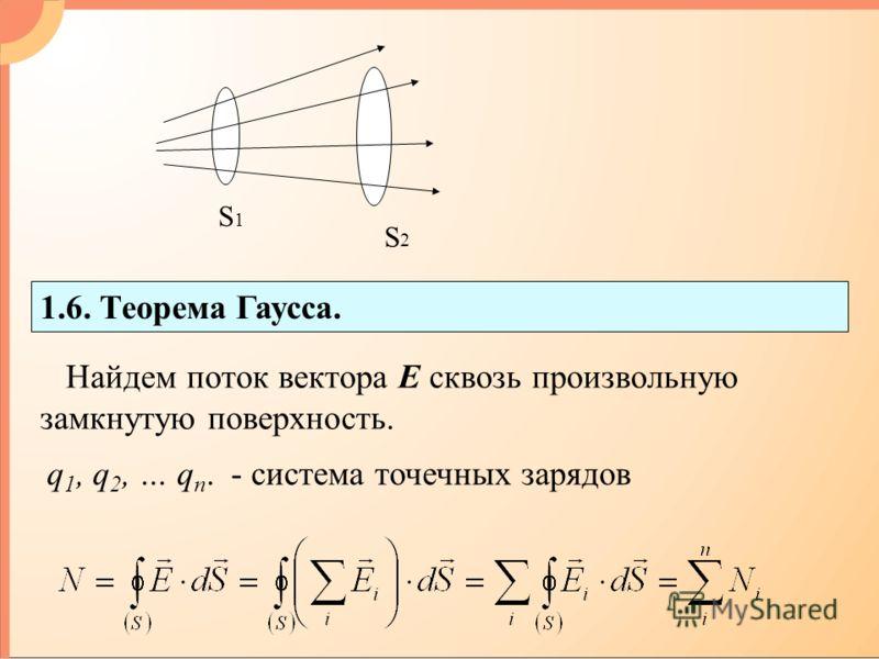 1.6. Теорема Гаусса. Найдем поток вектора Е сквозь произвольную замкнутую поверхность. q 1, q 2, … q n. - система точечных зарядов S1S1 S2S2