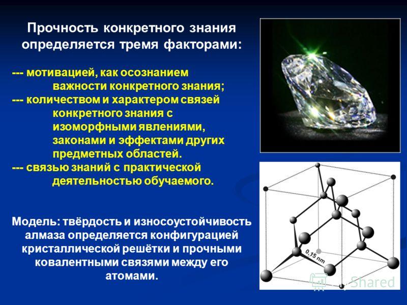 Прочность конкретного знания определяется тремя факторами: --- мотивацией, как осознанием важности конкретного знания; --- количеством и характером связей конкретного знания с изоморфными явлениями, законами и эффектами других предметных областей. --