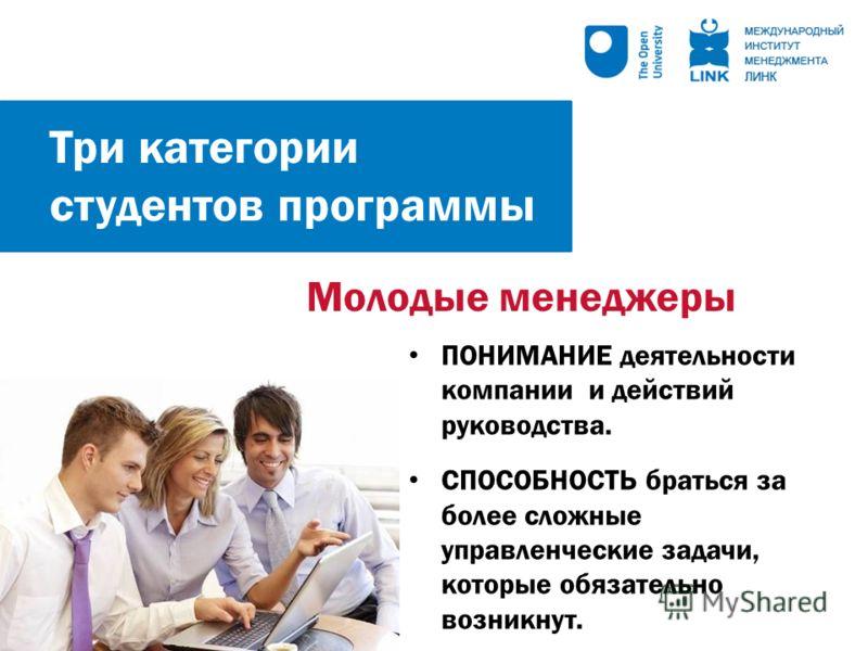 Молодые менеджеры ПОНИМАНИЕ деятельности компании и действий руководства. СПОСОБНОСТЬ браться за более сложные управленческие задачи, которые обязательно возникнут. Три категории студентов программы