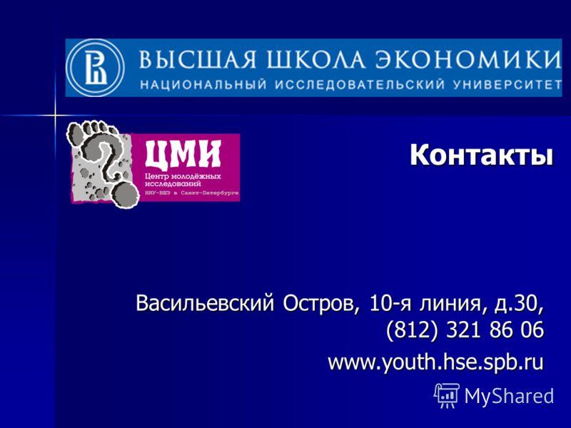 Контакты Васильевский Остров, 10-я линия, д.30, (812) 321 86 06 www.youth.hse.spb.ru