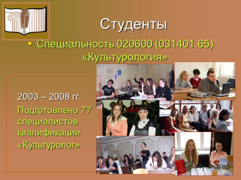 Диссертационный совет по культурологическим специальностям 1999 – 2008 гг. Защищено диссертаций – 79. В том числе докторских – 20.