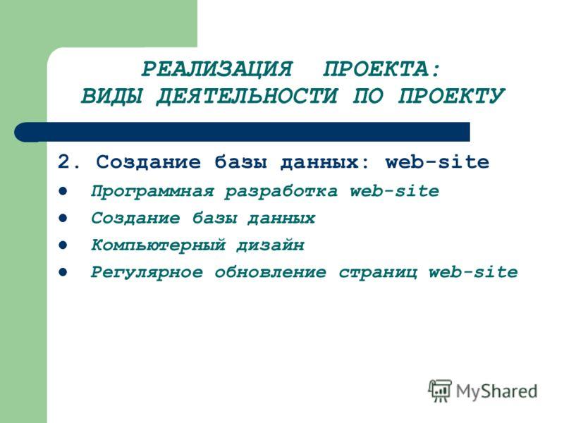 РЕАЛИЗАЦИЯ ПРОЕКТА: ВИДЫ ДЕЯТЕЛЬНОСТИ ПО ПРОЕКТУ 2. Создание базы данных: web-site Программная разработка web-site Создание базы данных Компьютерный дизайн Регулярное обновление страниц web-site