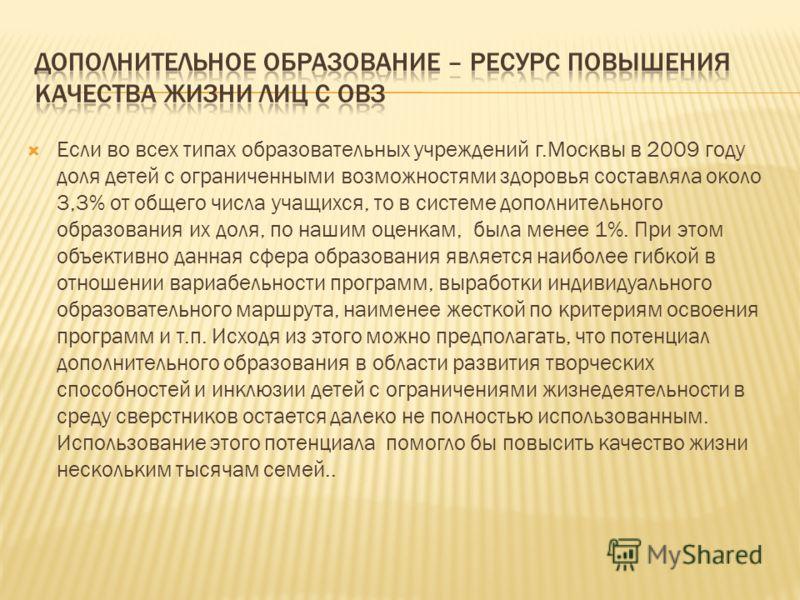 Если во всех типах образовательных учреждений г.Москвы в 2009 году доля детей с ограниченными возможностями здоровья составляла около 3,3% от общего числа учащихся, то в системе дополнительного образования их доля, по нашим оценкам, была менее 1%. Пр