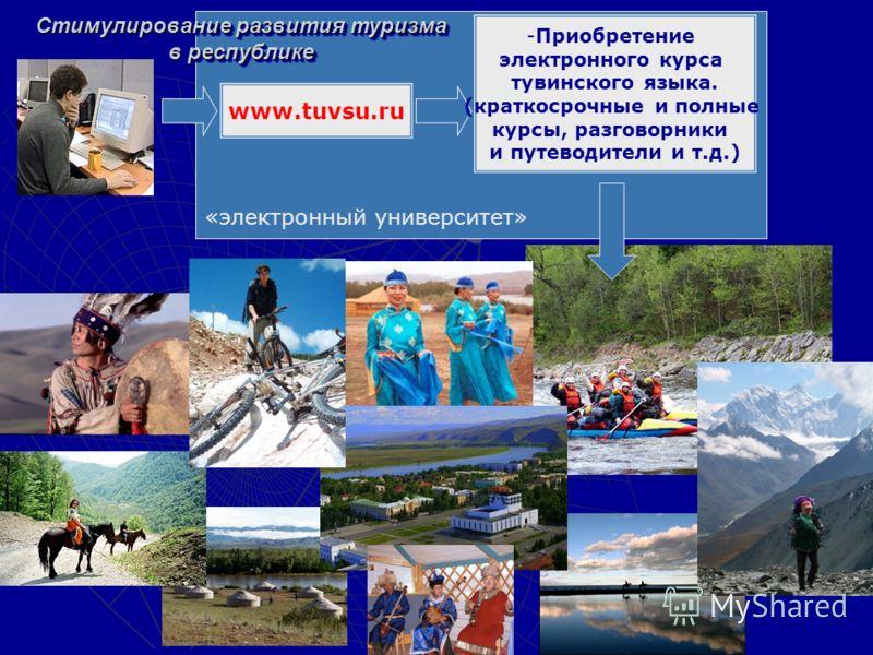 «электронный университет» www.tuvsu.ru -Приобретение электронного курса тувинского языка. (краткосрочные и полные курсы, разговорники и путеводители и т.д.) Стимулирование развития туризма в республике