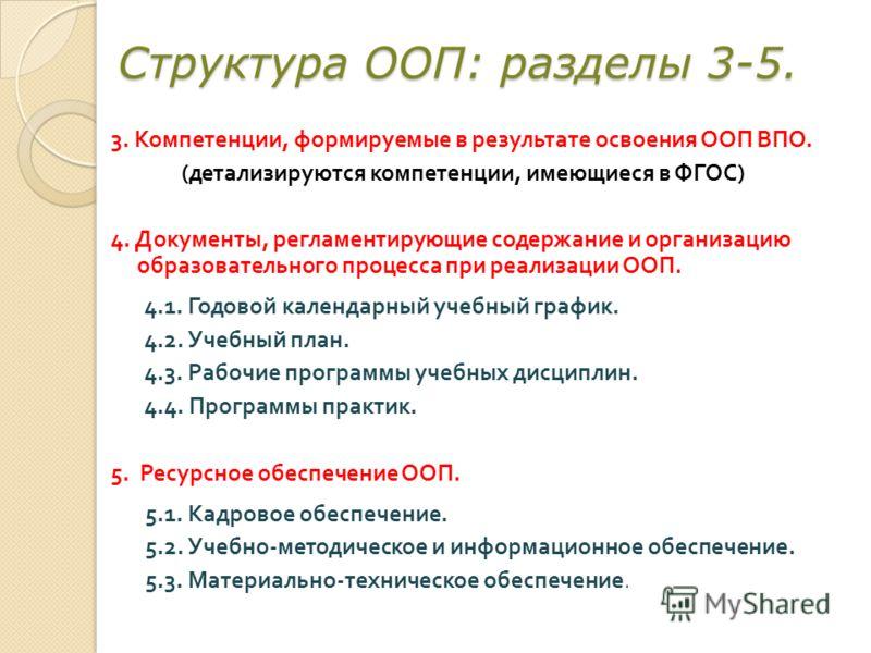 Структура ООП: разделы 3-5. 3. Компетенции, формируемые в результате освоения ООП ВПО. ( детализируются компетенции, имеющиеся в ФГОС ) 4. Документы, регламентирующие содержание и организацию образовательного процесса при реализации ООП. 4.1. Годовой