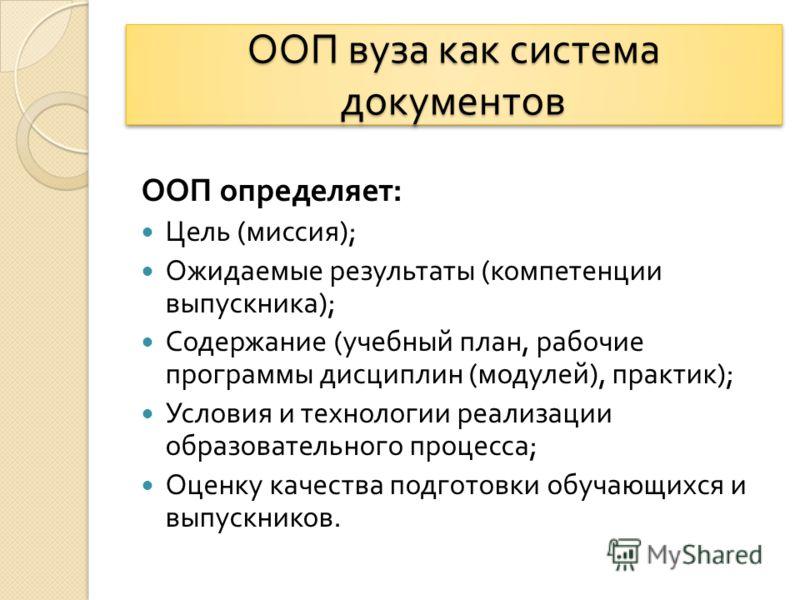 ООП вуза как система документов ООП определяет : Цель ( миссия ); Ожидаемые результаты ( компетенции выпускника ); Содержание ( учебный план, рабочие программы дисциплин ( модулей ), практик ); Условия и технологии реализации образовательного процесс