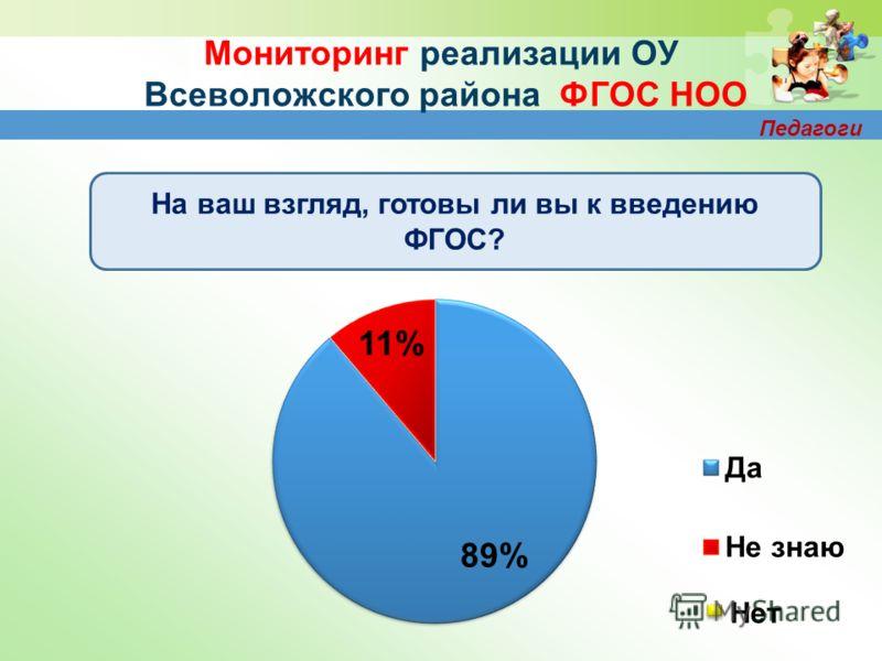 Мониторинг реализации ОУ Всеволожского района ФГОС НОО На ваш взгляд, готовы ли вы к введению ФГОС? Педагоги