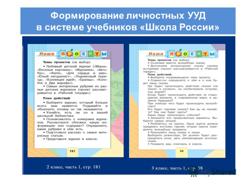 Формирование личностных УУД в системе учебников «Школа России»