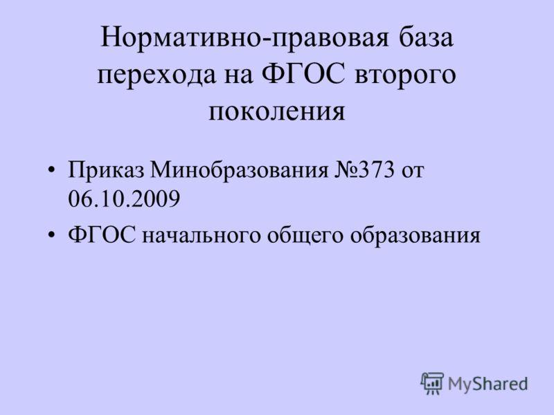 Нормативно-правовая база перехода на ФГОС второго поколения Приказ Минобразования 373 от 06.10.2009 ФГОС начального общего образования