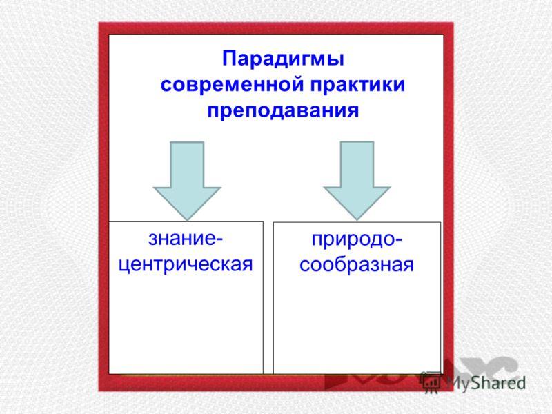 Парадигмы современной практики преподавания знание- центрическая природо- сообразная