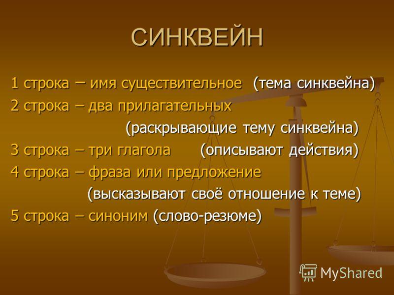 СИНКВЕЙН 1 строка – имя существительное (тема синквейна) 2 строка – два прилагательных (раскрывающие тему синквейна) (раскрывающие тему синквейна) 3 строка – три глагола (описывают действия) 4 строка – фраза или предложение (высказывают своё отношени