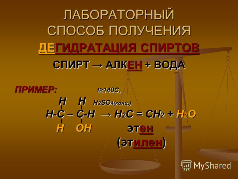ЛАБОРАТОРНЫЙ СПОСОБ ПОЛУЧЕНИЯ ДЕГИДРАТАЦИЯ СПИРТОВ СПИРТ АЛКЕН + ВОДА ПРИМЕР: t140C, Н Н Н 2 SO 4(конц.) Н Н Н 2 SO 4(конц.) Н-С – С-Н Н 2 С = СН 2 + Н 2 О Н-С – С-Н Н 2 С = СН 2 + Н 2 О Н ОН этен Н ОН этен (этилен) (этилен)