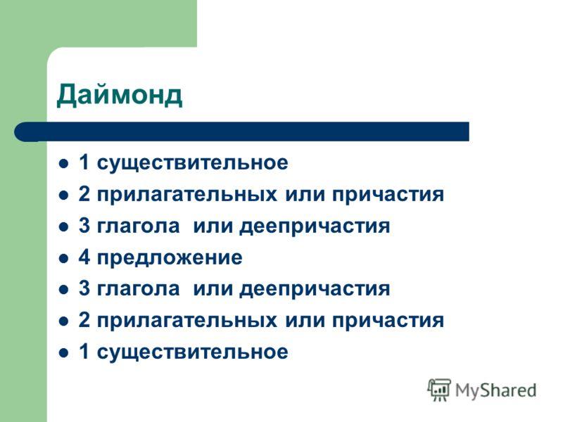 Даймонд 1 существительное 2 прилагательных или причастия 3 глагола или деепричастия 4 предложение 3 глагола или деепричастия 2 прилагательных или причастия 1 существительное