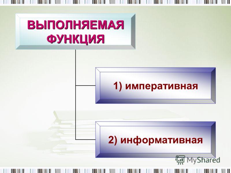 ВЫПОЛНЯЕМАЯФУНКЦИЯ 1) императивная 2) информативная
