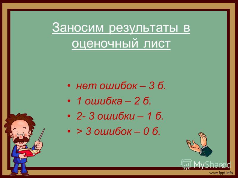 15 Заносим результаты в оценочный лист нет ошибок – 3 б. 1 ошибка – 2 б. 2- 3 ошибки – 1 б. > 3 ошибок – 0 б.