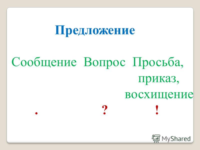 Предложение Сообщение Вопрос Просьба, приказ, восхищение. ? !